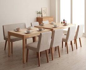 ダイニングセット 8点セット(テーブル+チェア×6+ソファベンチ×1) スライド伸縮テーブル グライド 8人用 伸長式 伸縮 伸縮式 エクステンションテーブル 食卓テーブルセット 食卓セット キャスター付き 天然木 木製テーブル ワイド おしゃれ 北欧 (送料無料) 040600416
