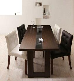 テーブルセット ダイニングテーブル5点セット 食卓テーブル モダンデザインダイニング ダイニングチェア 木製テーブル -ウッド×ブラックガラスダイニングテーブル5点セット(ガラステーブル幅150cm レザーチェア4脚)- 家具通販 新生活 敬老の日 (送料無料) 040605230