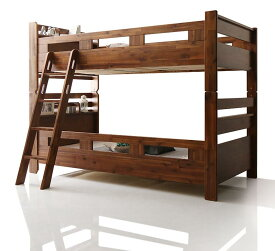 2段ベット シングル ベッドフレームのみ モダン 棚付き コンセント付き アカシア材 二段ベッド Redondo レドンド 木製 すのこ シングルベッド 分割 子供用 ブラウン (送料無料) 500028903