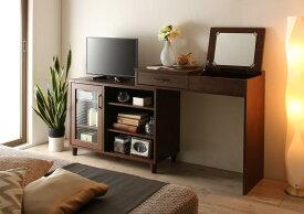 テレビも置けるキャビネット付き伸縮デスクドレッサー mahoro マホロ テーブル 1面鏡付き 収納棚 32V型まで対応 ナチュラル ダークブラウン ホワイト (送料無料) 500030151