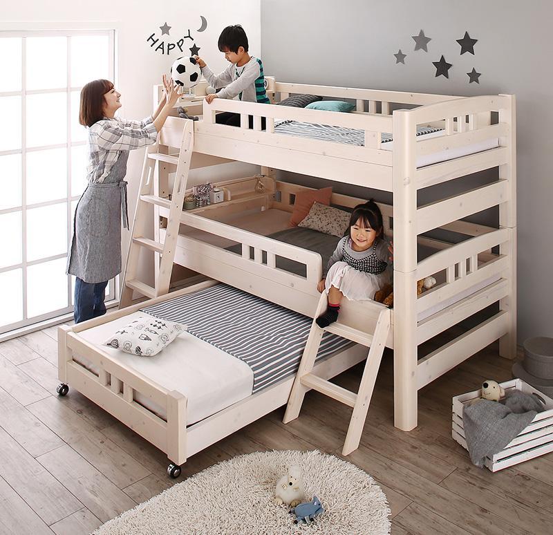 頑丈設計のロータイプ天然木ホワイト木目多段ベッド Whitriple ホワイトリプル 3段ベッド シングル (送料無料) 500033704