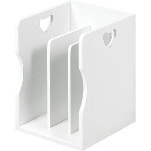 送料無料 4個セット ブックスタンド 木製 卓上 A4サイズ 本棚 シェルフ マガジンラック 本立て ホワイト MM-7205WH