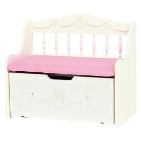 送料無料 リボンレリーフベンチチェスト 収納家具 かわいい 白 ホワイト 棚 おしゃれ 椅子 チェア インテリア【RH-1850WH】