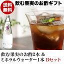 【送料無料】飲む果実のお酢ミネラルウォーターギフト<3本Bセット>(ギフト箱入り)