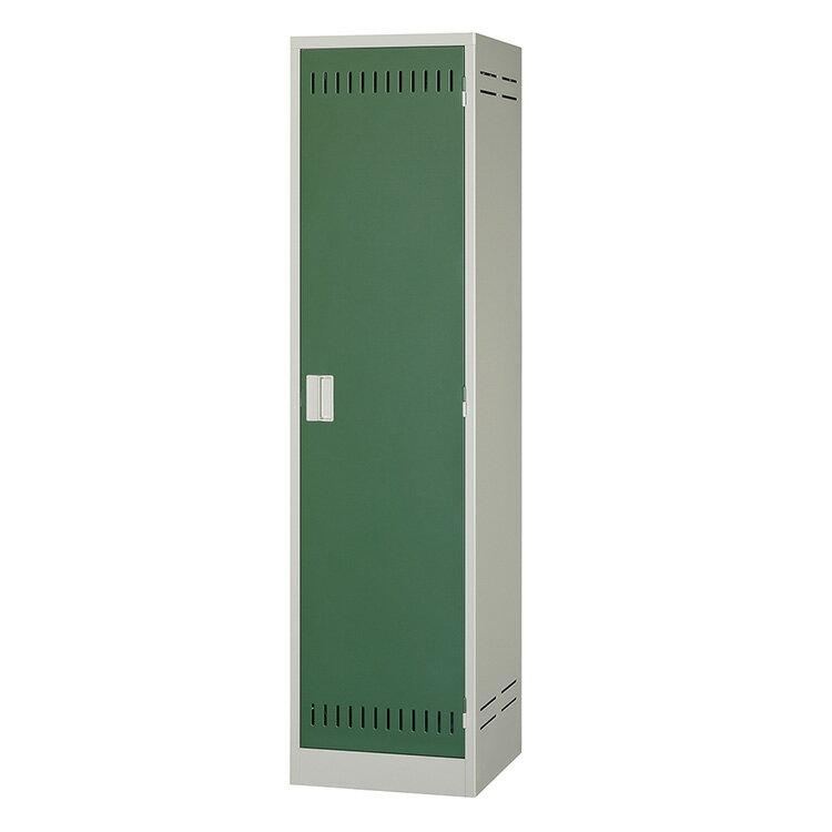 掃除用具ケース 片開き 錠無し NCP ニューグレー×ゴールドグリーン 完成品 新品 アルプススチール W455×D515×H1790