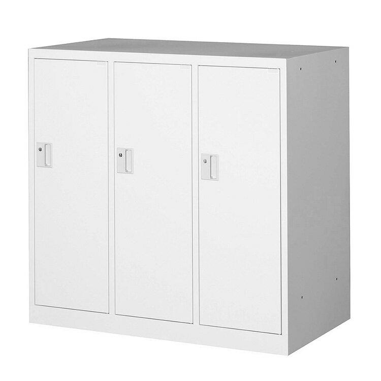 ミニロッカー フリーボックス 3人用ロッカー 完成品 連結可能 鍵付 新品 ホワイト アルプススチール MMLK3-W W900×D515×H880