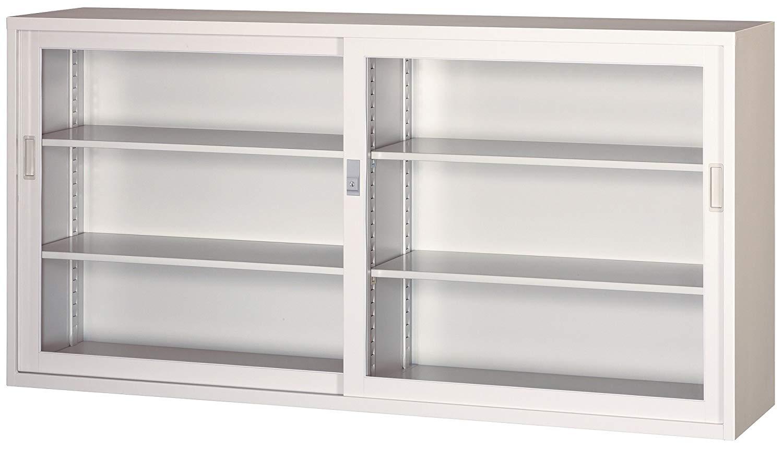 引違 スチール ガラス戸 書庫 306G-AW 完成品 鍵付 新品 アルプスホワイト アルプススチール W1760×D400×H880 TRUSCO
