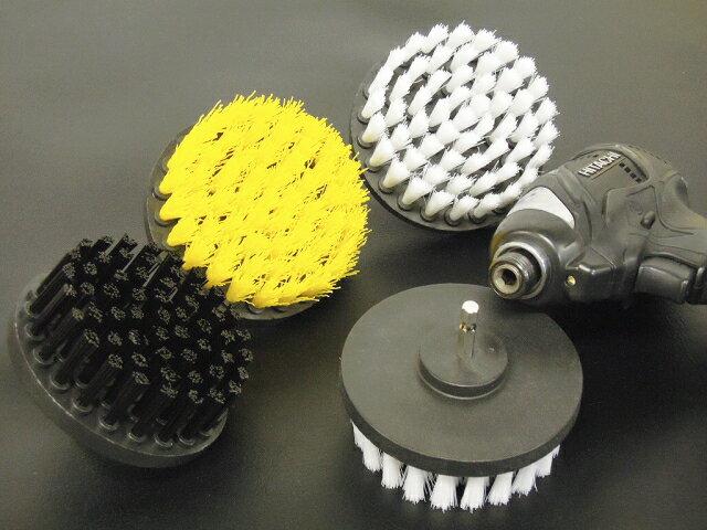 〇家庭用 「研磨のミツクラ バジブラシミニ」 直径10cm 4インチ 電動ドリル、電動ドライバーでブラシ磨き 選べる硬さ3種類