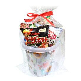 (地域限定送料無料) カルビースナック大袋 柄バケツ入りラッピングセット(8種・計8コ) D プチギフト さんきゅーマーチ (omtma6009k)