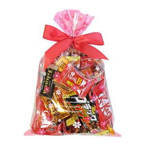 (地域限定送料無料) 食べきりチョコっとサイズ個包装タイプ チョコレート・駄菓子セット(計28コ) 花柄ラッピングA おかしのマーチ (omtma6303k)