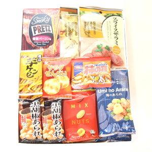 (全国送料無料) 食べやすい小袋おつまみバラエティギフトセット A (9種・計19個) さんきゅーマーチ プチギフト メール便 (omtmb6691g)
