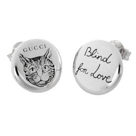 f03a3f319d9e グッチ ピアス GUCCI BLIND FOR LOVE ミスティックキャット エングレービング スタッド 猫モチーフ 499929-