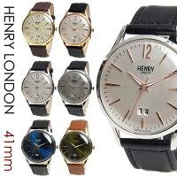 HENRYLONDONヘンリーロンドン時計メンズレディース41mmユニセックスカレンダー本革ベルト