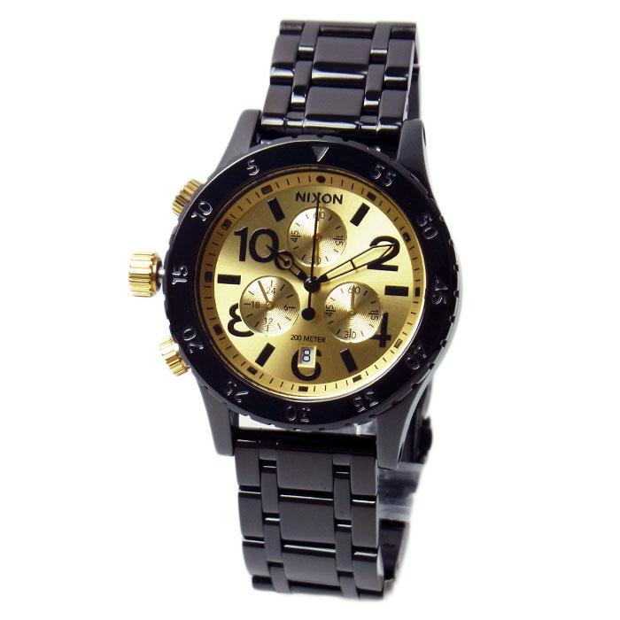 ニクソン 腕時計 メンズ レディース NIXON 38-20 クロノグラフ ブラック/ゴールド A404010 A404-010
