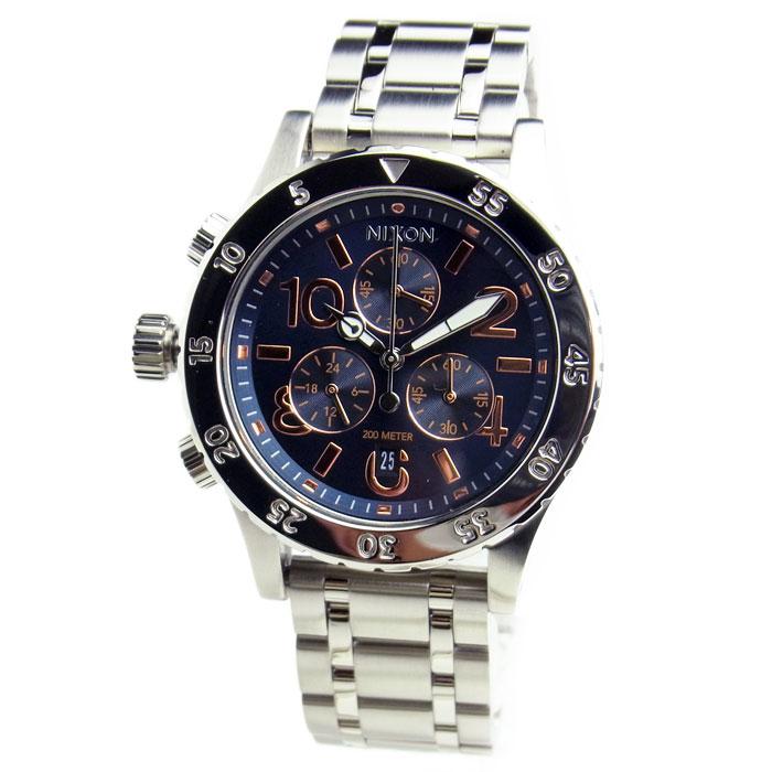 NIXON ニクソン 腕時計 レディース ユニセックス 38-20 クロノグラフ ネイビー/ローズゴールド 女性用 A404-2195 A4042195 【RCP】