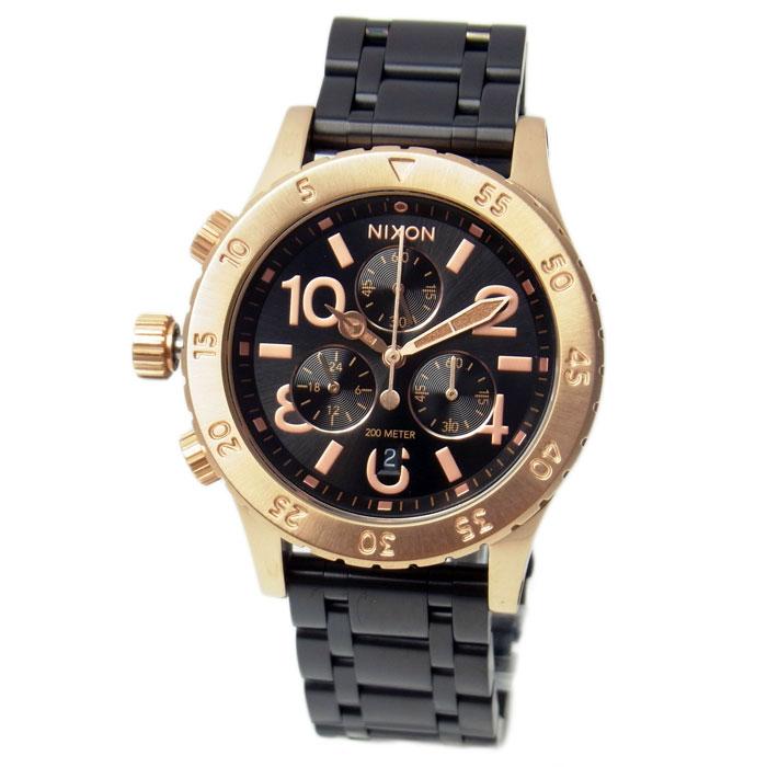 ニクソン 腕時計 メンズ レディース NIXON 38-20 クロノグラフ ブラック/ローズゴールド A4042481 A404-2481