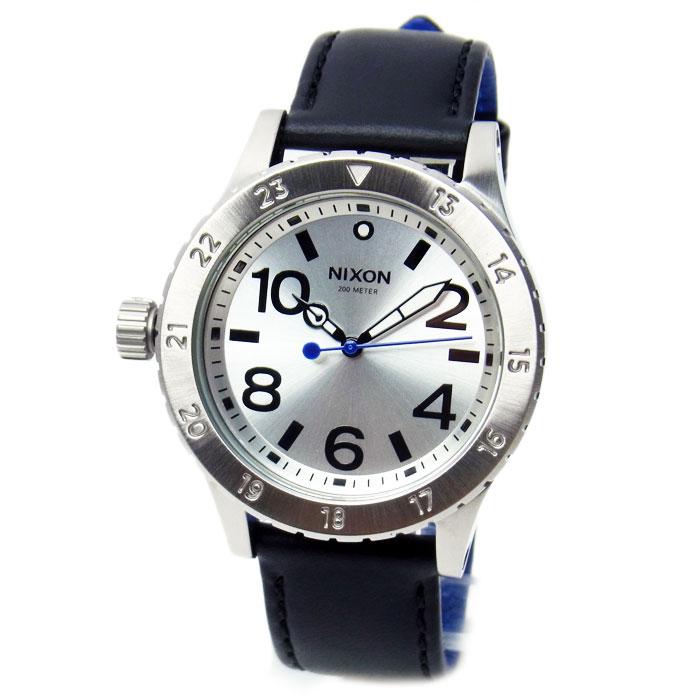 ニクソン 腕時計 メンズ レディース NIXON 38-20 LEATHER レザー シルバー/ブラック/ブルー A4672184 A467-2184
