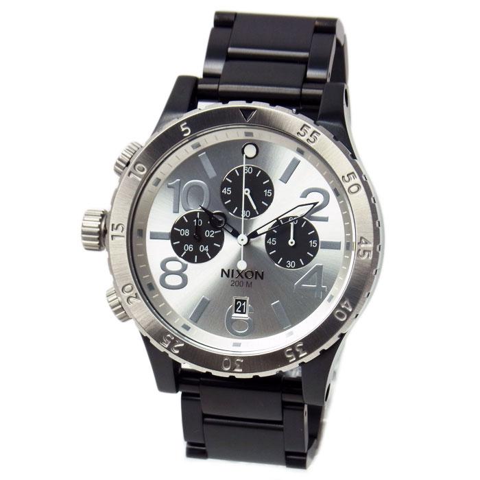 ニクソン 腕時計 メンズ NIXON 48-20 クロノグラフ ブラック/シルバー メンズ 男性用 A486180 A486-180