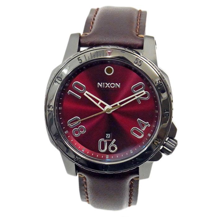NIXON ニクソン 腕時計 メンズ RANGER LEATHER レンジャーレザー ガンメタル/ディープバーガンディ レッド A508-2073 A5082073