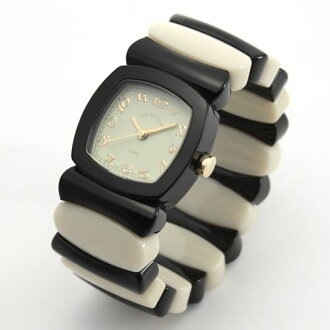 Time Will Tell タイムウィルテル ( タイムウイルテル ) watch Multi Colors black & ivory border pattern modern & vintage pop Bangle, breath and watch Multi-BL/IV