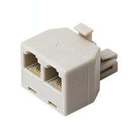 エントリーポイント6倍!【送料無料】ミヨシ 分配アダプタ 6極4芯 回線用 ホワイト DA-42WH 電話 オプション 周辺機器