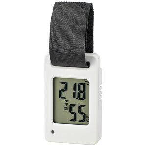 【メール便送料無料】ポータブルデジタル温湿度計 ホワイト OHM 08-3830 TEM-800W 携帯 小型 温度計 熱中症アラーム・警告ランプ点滅機能付
