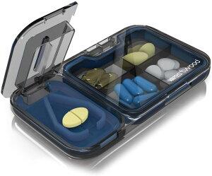 ピルケース ピルカッター付き 1日4回 携帯 薬入れ 薬ケース コンパクト くすり整理 飲み忘れ防止 便利 半透明 箱入り