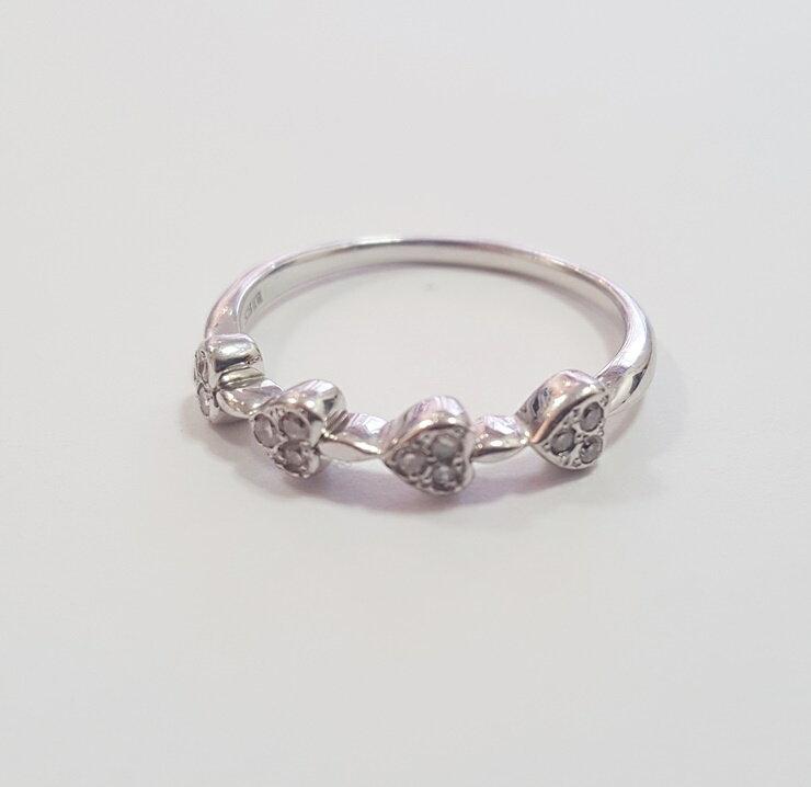 【中古】美品 貴金属 ハートモチーフ ダイヤモンド リング 16号 指輪 ホワイトゴールド K18WG 18金 レディース アクセサリー【本物保証】【中古】