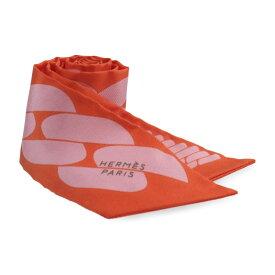 美品 HERMES エルメス ツイリー スカーフ オレンジ ピンク シルク 小物【本物保証】【中古】