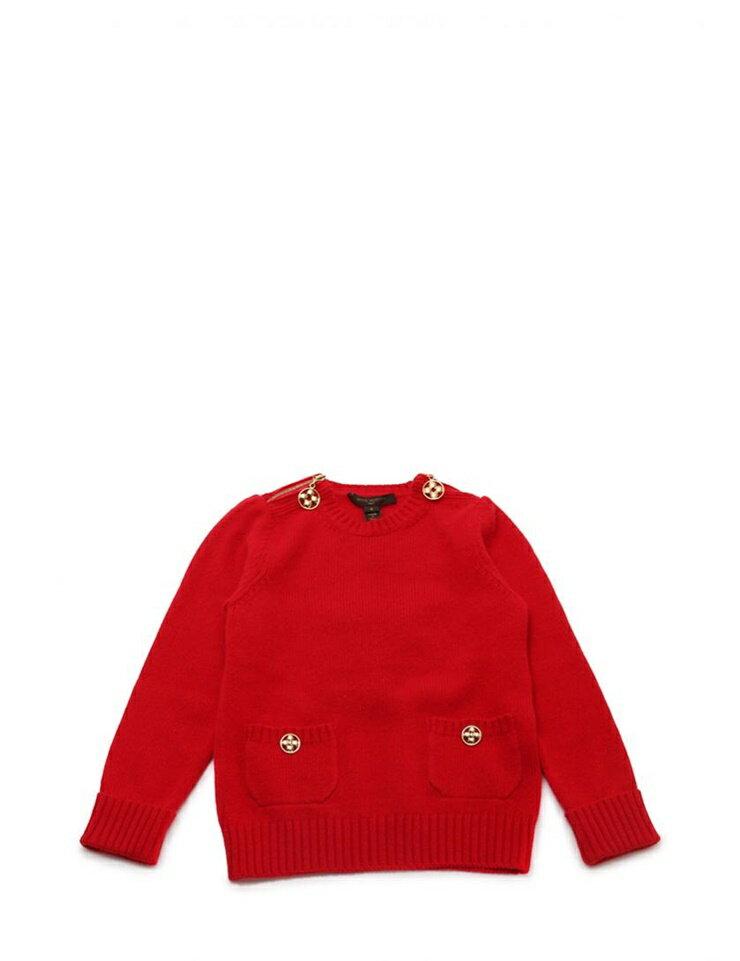 超美品 LOUISVUITTON ルイヴィトン キッズ セーター 表記サイズ6 参考サイズ120 レッド 赤 カシミヤ100% 子供服【本物保証】【中古】