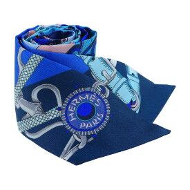 美品 HERMES エルメス ツイリー スカーフ ブルー ネイビー シルク 小物【本物保証】【中古】