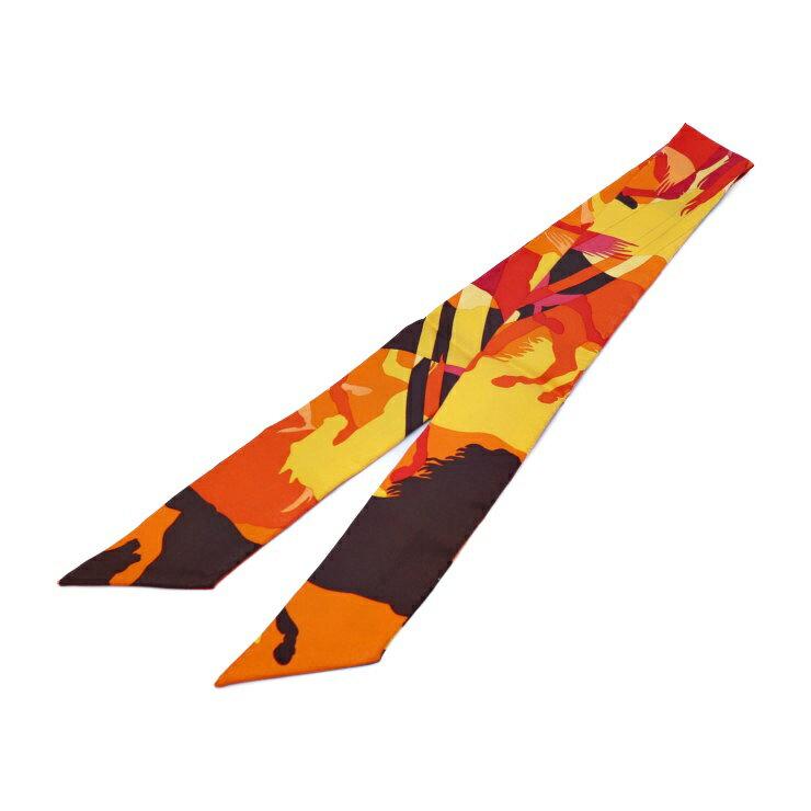 新品未使用展示品 HERMES エルメス ツイリー リボンスカーフ マルチカラー オレンジ イエロー ブラウン レッド【本物保証】【中古】