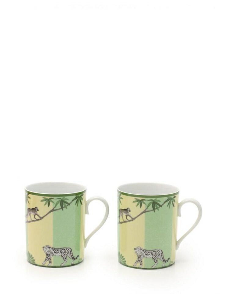 新品未使用展示品 HERMES エルメス マグカップ アフリカ ペア 磁器 白 緑 黄 マルチカラー 食器【本物保証】【中古】