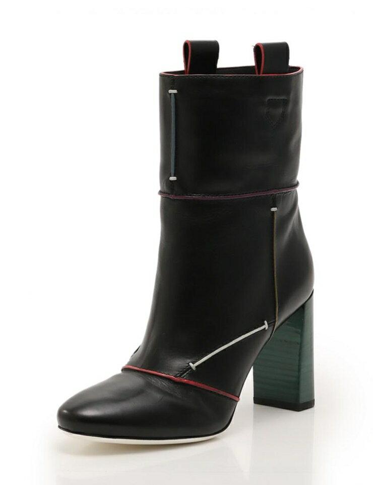 超美品 FENDI フェンディ ブーツ レザー 黒 マルチカラー メーカーサイズ40 参考サイズ27cm【本物保証】【中古】