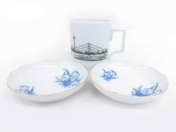 超美品 Meissen マイセン マグカップ 小皿 プレート皿 計3点セット 磁器 ホワイト ブルー 食器【本物保証】【中古】