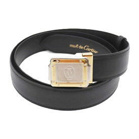美品 Cartier カルティエ サントス ベルト レザー ブラック サイズ92〜100cm【本物保証】【中古】