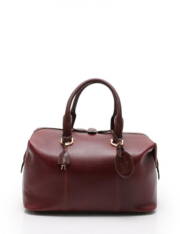 美品 Cartier カルティエ マストライン ボストンバッグ 旅行バッグ レザー ボルドー【本物保証】【中古】