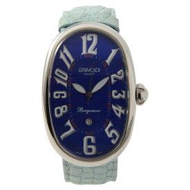 GRIMOLDI グリモルディ ボルゴノーヴォ 自動巻き ボーイズ メンズ 腕時計 SS レザーベルト シルバー ブルー文字盤 水色【本物保証】【中古】