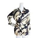 新品未使用展示品 HERMES エルメス ベルト付き 長袖シャツ 馬柄 シルク ベージュ グレー ブラック マルチカラー 表記サイズ 38 レディ…