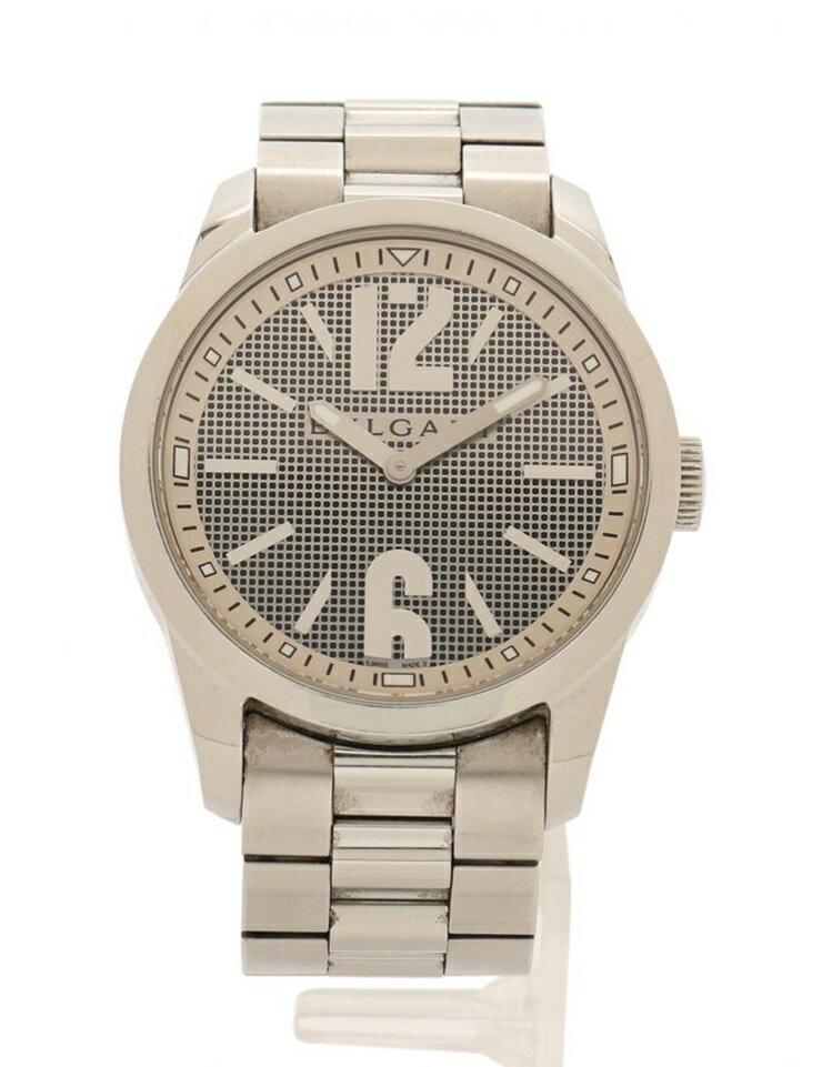 BVLGARI ブルガリ ソロテンポ メンズ 腕時計 ST37S クオーツ SS シルバー【本物保証】【中古】
