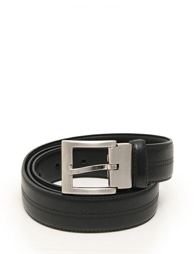 超美品 dunhill ダンヒル ベルト レザー 黒 シルバー メーカーサイズ44/112 参考サイズXL【本物保証】【中古】