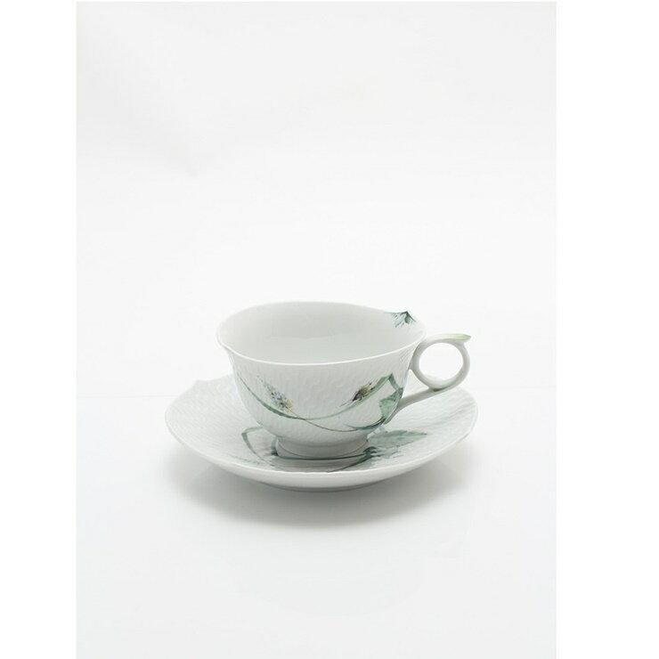 【新品未使用展示品】Meissen マイセン カップ&ソーサー 森の声 磁器 白 緑 食器【本物保証】【中古】
