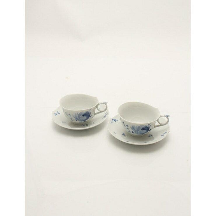 【新品未使用展示品】Meissen マイセン ティーカップ&ソーサー セット 青い花 白 青 磁器 食器【本物保証】【中古】