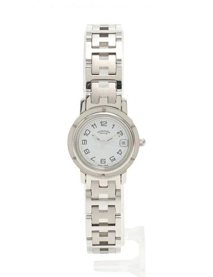 美品 HERMES エルメス クリッパー 腕時計 CL4.210 レディース SS シルバー 白文字盤 クオーツ【本物保証】【中古】