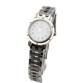 HERMES エルメス クリッパー レディース腕時計 CL4.210 SS シルバー ホワイト文字盤 クオーツ【本物保証】【中古】