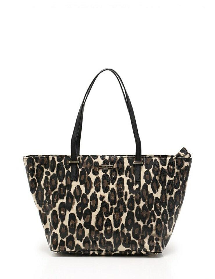 新品未使用展示品 kate spade ケイトスペード Cedar Street Leopard SMALL HARMONY トートバッグ PXRU5130 レオパード柄 PVC レザー 黒 ベージュ 茶【本物保証】【中古】
