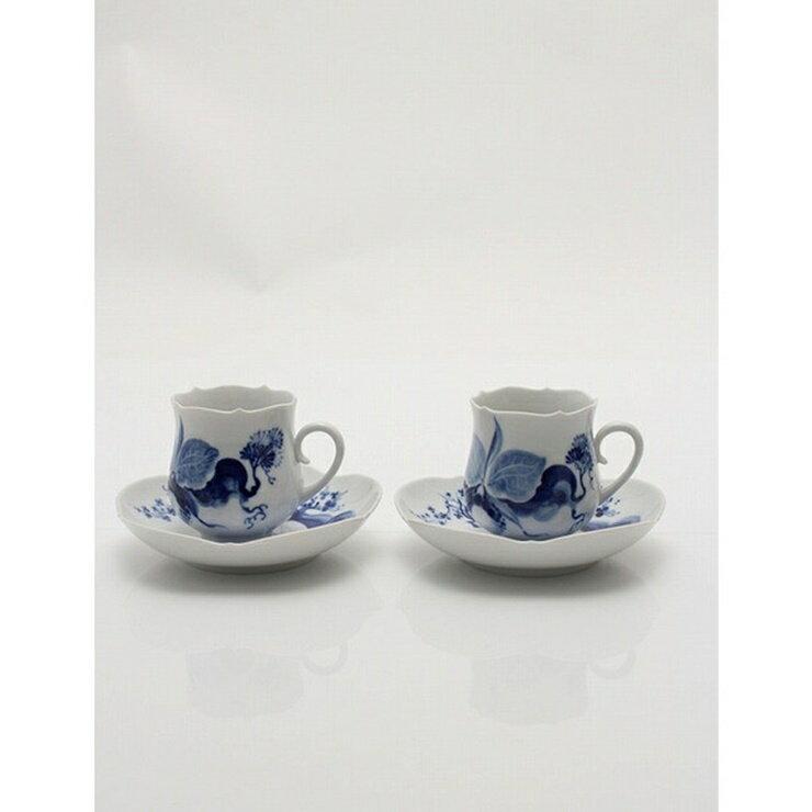 【新品未使用展示品】Meissen マイセン ブルーオーキッド カップ&ソーサー 2客セット 白 青 食器 【本物保証】【中古】