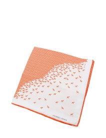 新品未使用展示品 HERMES エルメス ポケットチーフ シルク オレンジ 白 ホワイト【本物保証】【中古】