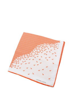 新货未使用的展览品HERMES爱马仕口袋主任丝绸橙子白怀特