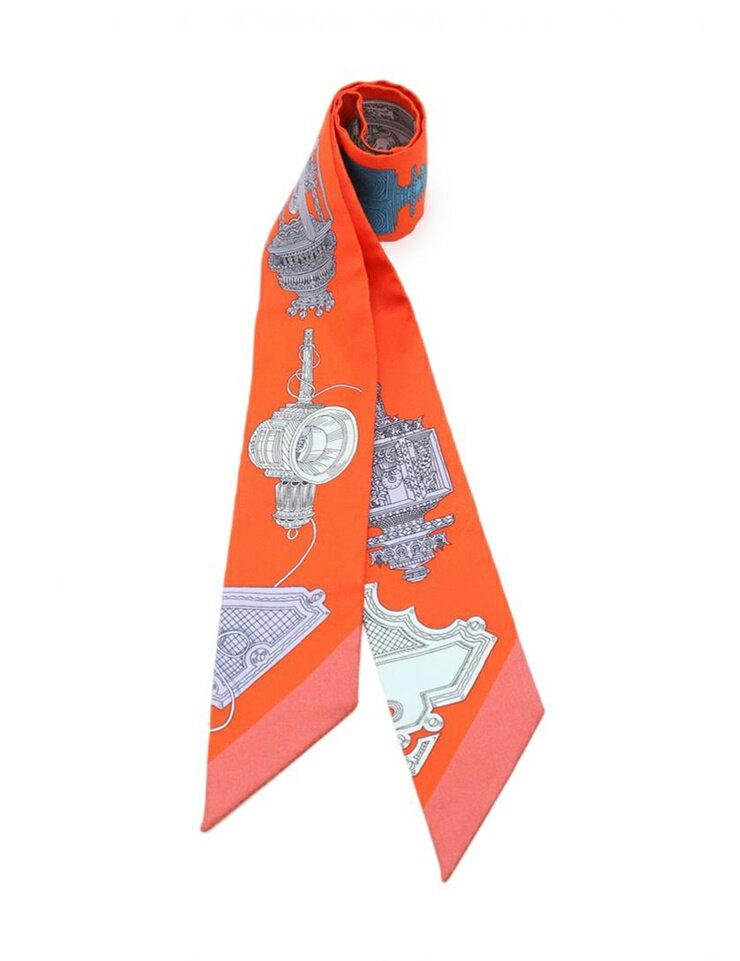 新品未使用展示品 HERMES エルメス ツイリー 「Merveilleuses Lanternes」 リボンスカーフ 063081S 02 シルク 赤 マルチカラー アパレル 小物【本物保証】【中古】
